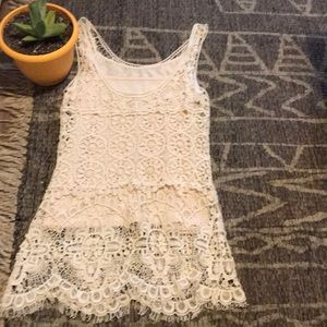 Tops - Lace crocheted tank with cami lining | cream color